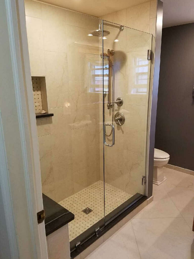 Two panel Frameless Shower Enclosure | Frontier Glass Inc.